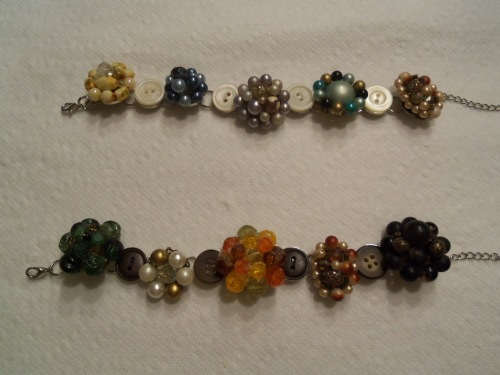 Some bracelets made from old clip-on earrings and buttons.